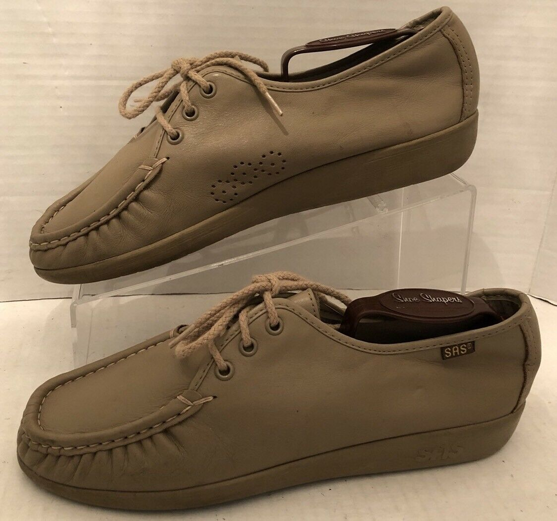 SAS Amigo Beige Tumbled Leather Casual Shoes Oxford Moc Toe Loafers Shoes Casual MENS Size 11 ac9534