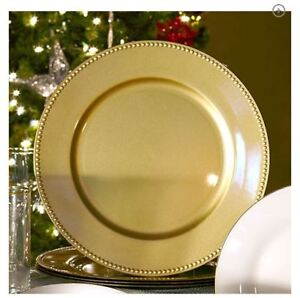 Image is loading Sets-of-24-12-6-2-Gold-Plastic- & Sets of 2412 6 2 Gold Plastic Large Charger Plates Beaded Rims 13 ...