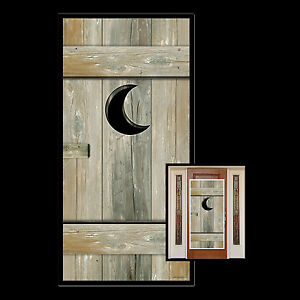 Image is loading Funny-OUTHOUSE-Bathroom-Door-Cover-Western-Toilet-Over- & Funny OUTHOUSE Bathroom Door Cover Western Toilet Over-the-Hill ...