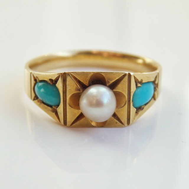 Antique Victorian 18ct Gold Turquoise & Pearl set Ring c1895; UK Size 'K 1/2'