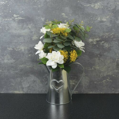 Rustic Shabby Chic Metal Jug Filled with artificial Flowers in range of styles