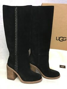 a569850648f Details about UGG Australia Maeva Suede Pull On Heeled Boots Black 1018941  Whipstitched Leathe