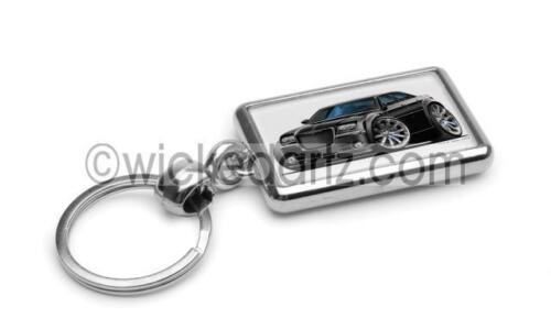 RetroArtz Cartoon Car Chrysler 300V8 SRT in Black Premium Metal Key Ring