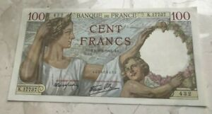 1941 France 100 Francs - Nice World Banknote Currency