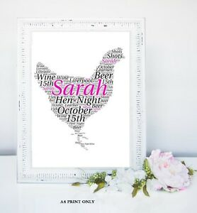 Bride to Be Bridal Shower Gift * Hen Do Personalised Poem Keepsake Hen Night