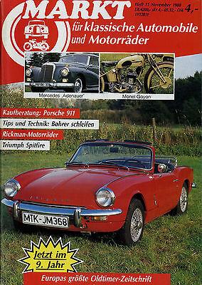 Auto & Motorrad: Teile Oldtimer Markt 1988 11/88 Rickman Triumph Spitfire Monet-goyon Norton Goggo 911 Offensichtlicher Effekt