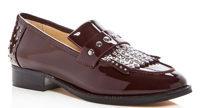 168 size 8.5 Botkier Victoria Studded Wine Leather Fringe Loafer Womens shoes