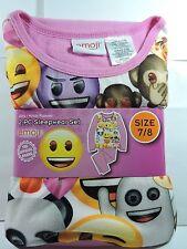 Brand New Girls Official Emoji Flannel Pajamas 2 piece Sleep wear Set Size 7/8