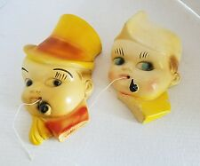 40'S SOLDIER & BOY W/TOP HAT W/Pipes Chalkware String Holder VINTAGE WALL HANGER