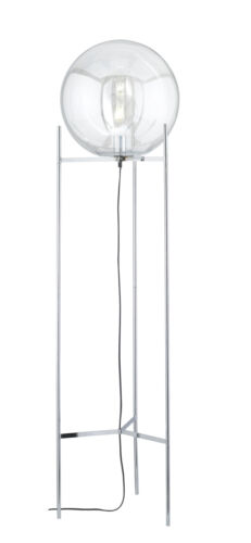 WOFI Standleuchte Ronda E27 Stehlampe Stehleuchte Chrom Kugel Glas Schalter LED