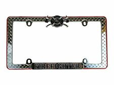 Firefighter Fire Department Metal Chrome License Plate Frame High Quality Diamon