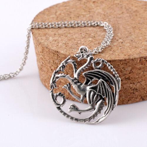 Game of Thrones Daenerys Targaryen Dragon Necklace Khalessi Sigil Pendant Chain