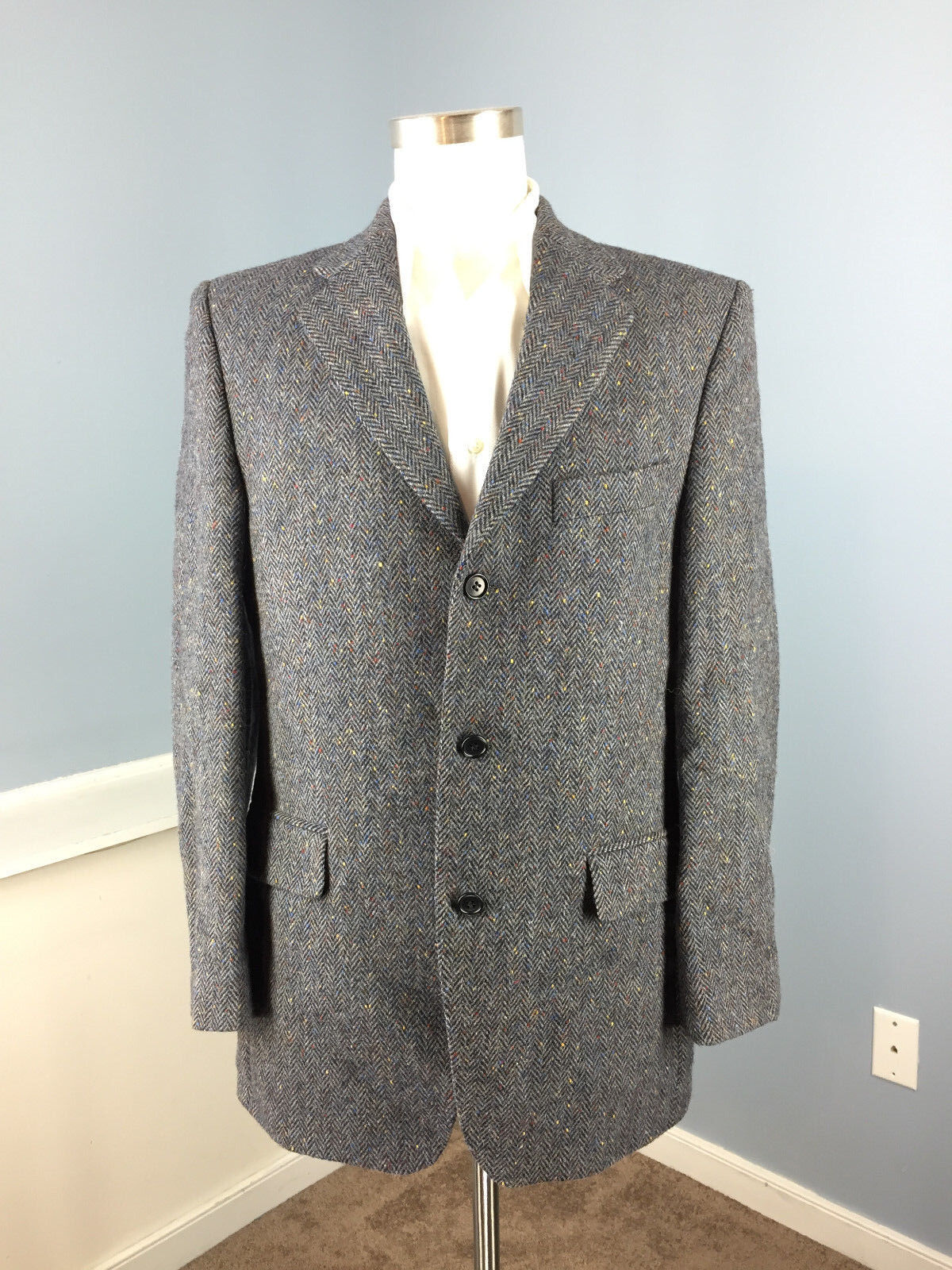 Magee Donegal tweed Sport Coat Blau 40 R Hand Woven 100% Wool Two Button EUC
