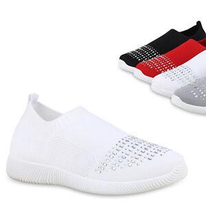 Details zu Damen Sportschuhe Laufschuhe Strick Slip On Sneaker Strass Schuhe 825975 Trendy
