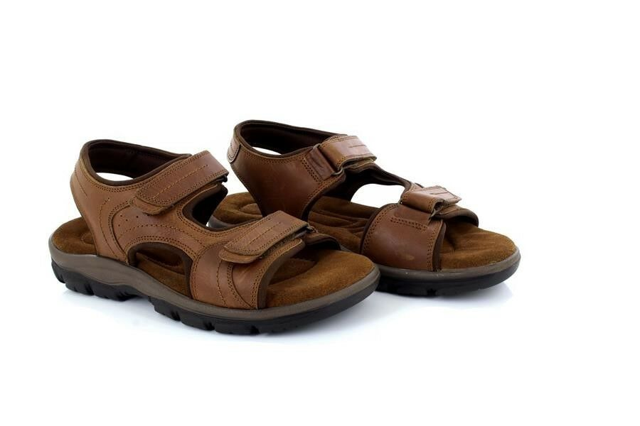 Mens roamers m262 tan waxy leather double velcro closure sandals