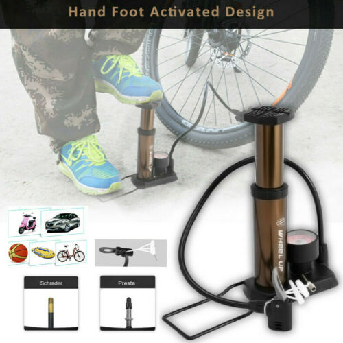 Mini Bike Pump Portable Bicycle Hand /& Foot Pump Pressure Gauge Tire Air Pump US