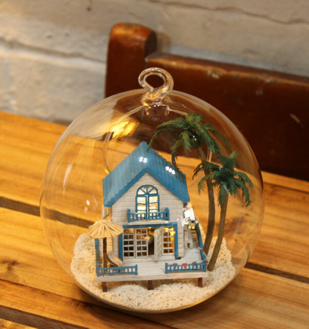 DIY  Miniature Dollhouse in Mini Glass Ball w/ led Light, voice control (B-002)
