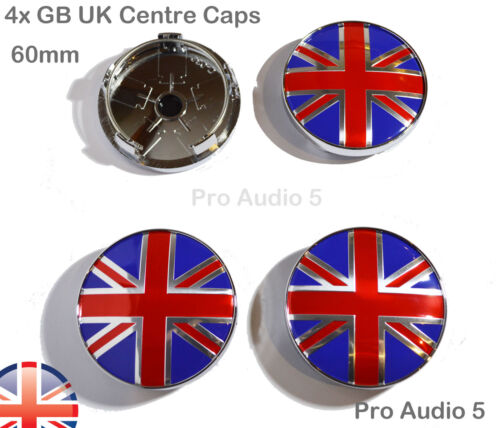 4 Union Jack GB FLAG WHEEL CENTRE CAPS 60mm Universal Skoda VW Saab Seat CAR UK