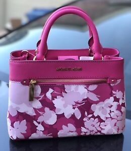 8a66751367f9 NWT Michael Kors Granita Pink XS Hailee Satchel Floral Leather Bag ...
