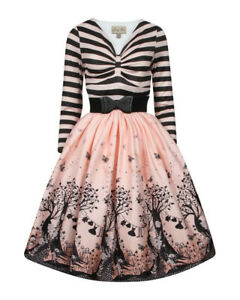 Lindy-Bop-Sinead-Pink-Fairies-Swing-Dress-BNWT-Vintage-50-039-s-Fifties-Stripes