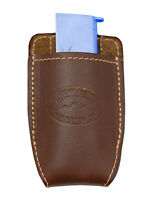Barsony Brown Leather Magazine Pouch For Makarov Feg Mini/pocket 22 25 380
