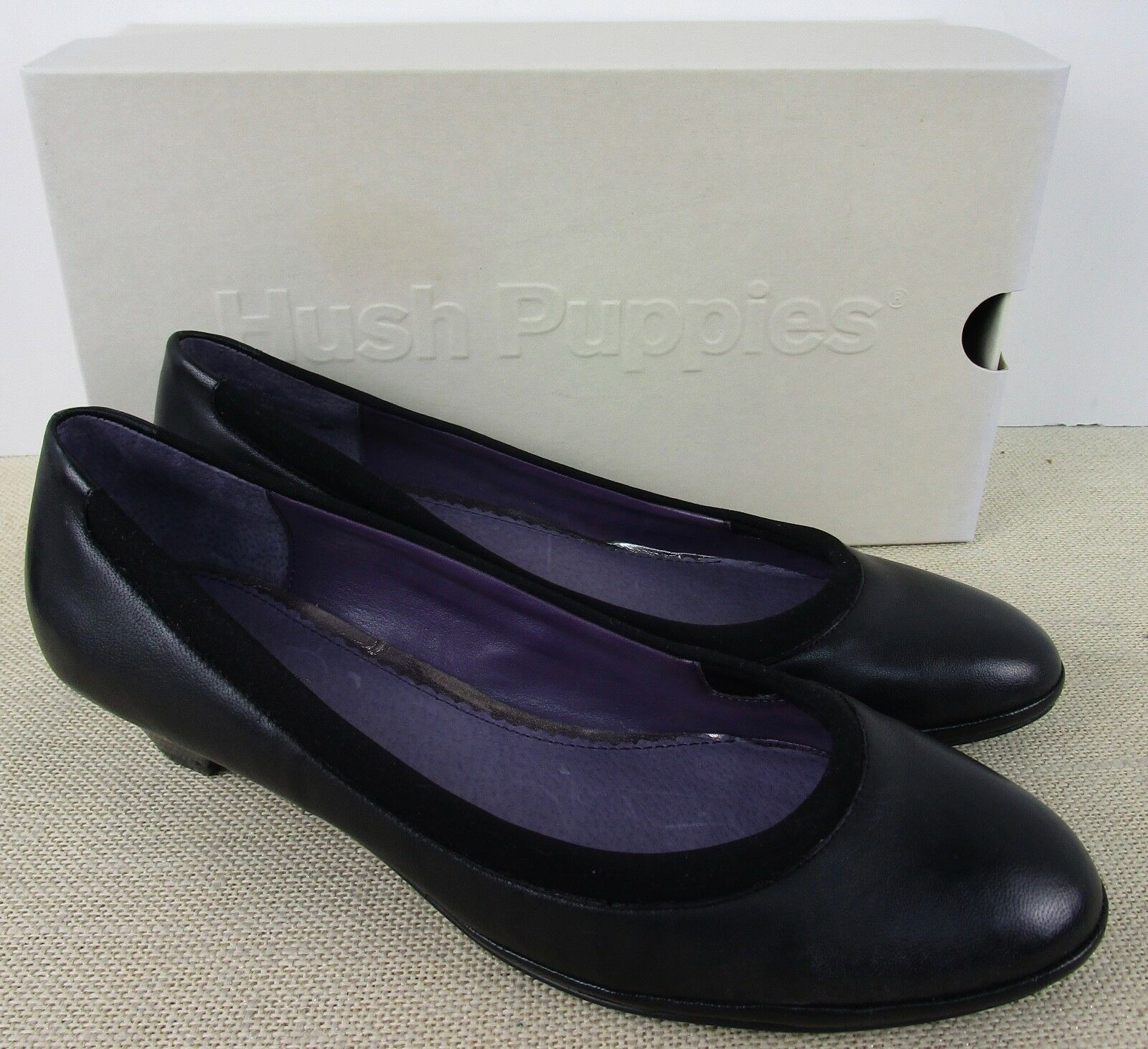 HUSH PUPPIES H501710 WOMEN'S EMINENCE BLACK LEATHER PUMPS SIZE 9M NEU IN BOX
