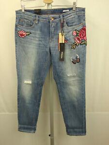 189-CAMBIO-LAURIE-Denim-Jeans-Gr-42-USA-12-Hose-Pants-Rosen-Patches-Blau