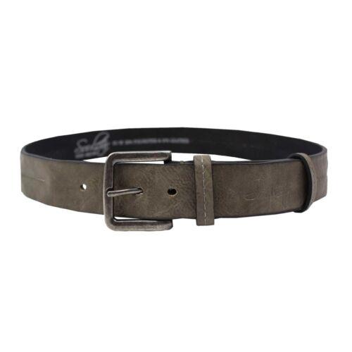 Da Uomo Soulstar Pennello fibbia in metallo cromato indossato Cintura in Pelle Misura