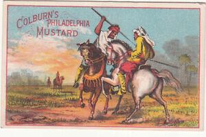 Colburn's Philadelphia Mustard Arab Middle East Horses Spears Vict Card c1880s