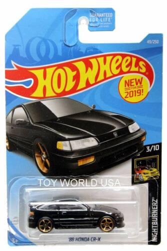 2019 Hot Wheels #49 Nightburnerz /'88 Honda CR-X black