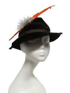 STETSON-Vintage-Brown-Velvet-Felt-Ribbon-Feather-Trilby-Fedora-Hat-21-5-8