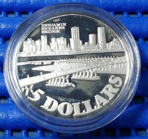 1982 Singapore Benjamin Sheares Bridge Commemorative $5 Silver Proof Coin