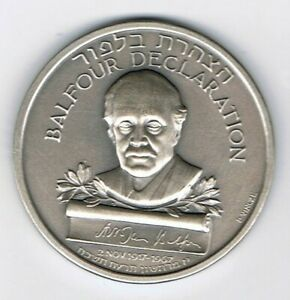 Israel-1967-Balfour-Declaration-State-Medal-by-Paul-Vincze-45mm-48g-Silver-935