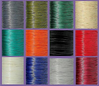 10m Polyester Waxed Cord 1mm Choice of Colours Macrame Shamballa Knotting