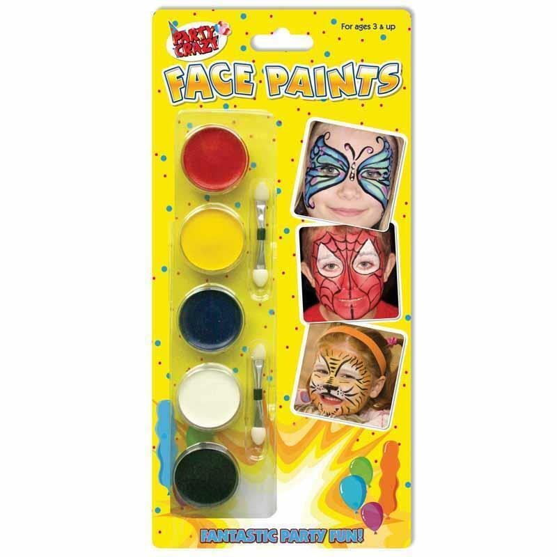 Face Paints With Applicators 5 Pack Paint - Painting Fancy Dress Kids Children