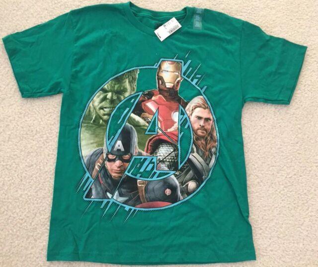 Marvel Hulk /& Captain America Youth Large 14//16 T-Shirt Yellow Spiderman