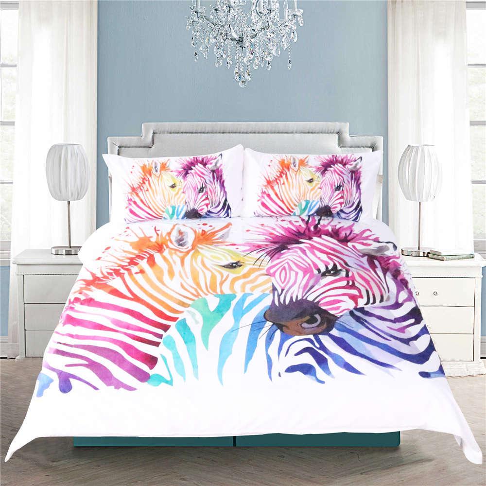 Colour Stripe Angry Zebras 3D Digital Drucken Bettding Duvet Quilt Startseite Pillowcase