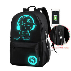 bf3f2b14f9 Image is loading Men-Women-Schoolbag-Bookbag-Satchel-Shoulder-Backpack -Night-