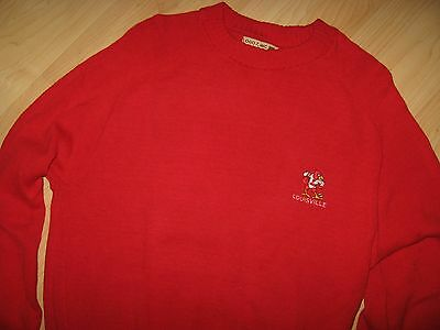 University Of Louisville Sweater - Vintage 1980's Cardinal Red USA Pullover Lrg