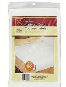 Mattress-Protector-Fitted-Cover-Lightweight-Plastic-Queen-FREE-Shipping