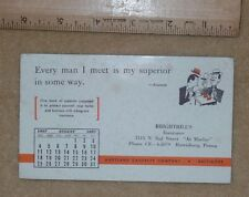 Vintage 1957 calendar blotter Brightbill's Insurance, Maryland Casualty, Hbg. PA