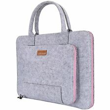 Ropch Universal 15 - 15.6  Felt Laptop Sleeve Bag Pouch Grey & Pink