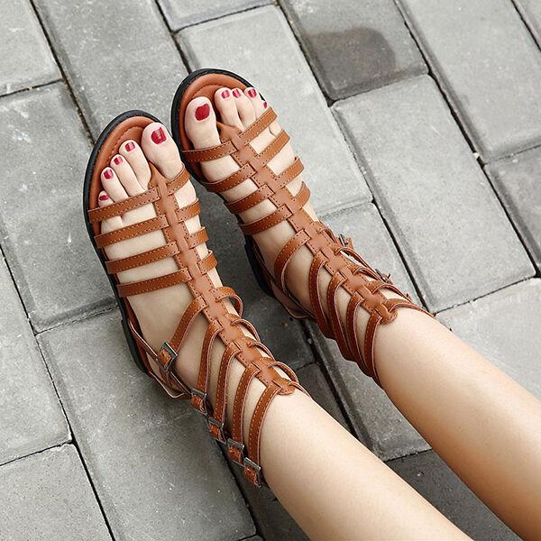 Último gran descuento Eleganti Sandali marrone eleganti stile gladiatore con zip tacco basso CW831