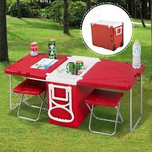 Camping Picnic Table Cooler Chair Set Beach Folding Hunting Fishing ...