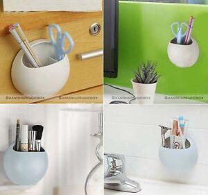 Wall suction cups toothbrush toothpaste holder kitchen bathroom stuff organizer ebay - Keep toothpaste kitchen ...