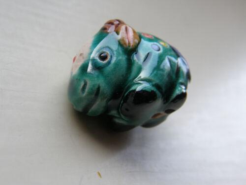 1 Porcelain Boar Bead Green//Multi  22 mm x 17 mm Jewellery Making//Crafts