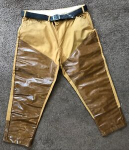 Vintage-Khaki-Brown-Leather-Front-Reinforced-Lined-Hunting-Welding-Pants-36X28