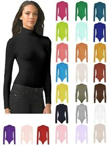 Womens-Turtle-Neck-Bodysuit-Leotard-Long-Sleeve-Top-UK-8-28