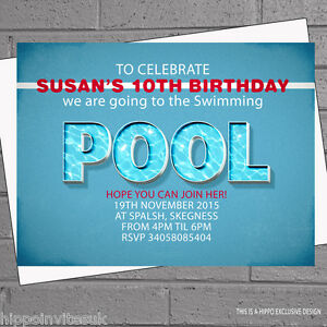 Image Is Loading Pool Party Invitations Personalised Kids Childrens Birthday X
