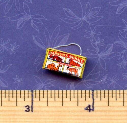 Vintage  Animal Cracker Box YELLOW Dollhouse Miniatures  Size Victorian